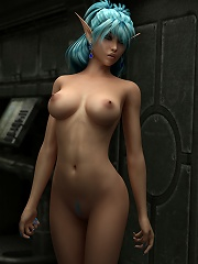 Pretty Toon Streetwalker showing tits and railed