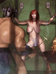 Bitch Babe shows hairy hole and slams 3D Mutant