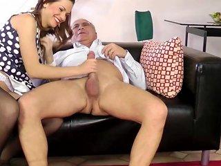 Classy Euro Pleasing Old Mans Dick