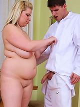 Doctor bends over blonde BBW slut