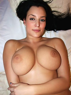 Astounding hot pussycat with natural big coconuts and yummy pussy strips on bed