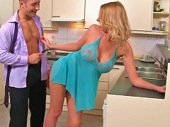 Jaw Dropping Housewife Gets Her Pussy Licked Right On The Kitchen Table