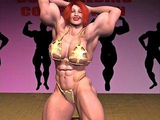 Female Muscle Growth Gold Bikini