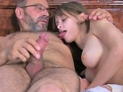 Russian Teen Oksana Gives Blowjob To Old Dude And Rides Her Boyfriend At The Same Time
