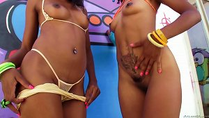 Two Ebony Chics Share A Massive Rod And They Love It