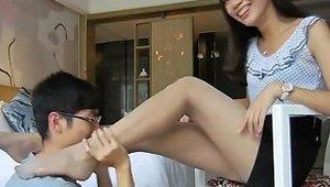 Very Hot Asian Pantyhose Foot Worship