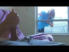 Big Titted Neighbor Finds Him Jacking And Sucks