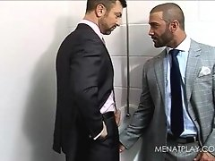Hairy gay muscle bears fucking on the office table