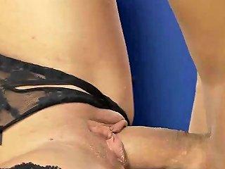 Amazing Blonde In Fishnet Stockings Gets Slammed