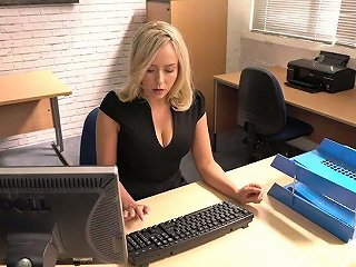 Slutty Secretary Millie Fenton Spreads Legs And Shows Upskirt Under The Table