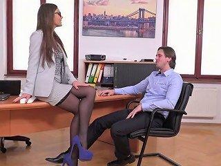 Man Eating Bitch Tina Kay Seduces Her Boss And His Business Partner