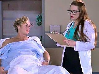Four Eyed Buxom Nurse Treats Sick Man With Stout Tit Fuck