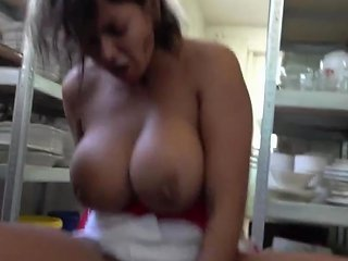 Chef With Huge Tits And Mega Clit