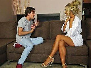 Perfect Tanned Blonde Milfie Masseuse Courtney Taylor Rides Big Cock