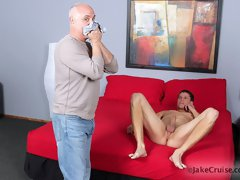 Sexy hunk Aaron Rivers gets serviced orally by cock hungry daddy Jake