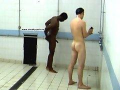 Naked guys take shower together