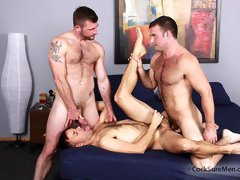 Three muscle and hairy gay men enjoying hot 3 way anal fucking here