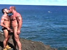 This sexy oral scene stars two of the biggest names, and biggest stud in porn - Steve Cruz and Jake Deckard. Steve and Jake are on a rocky cliff overl