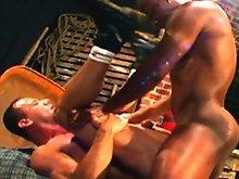 Rod  checks Brad Fletcher's gag reflex as he shoves his monster black cock down this throat - passing that test Brad's hairy cheeks are spre