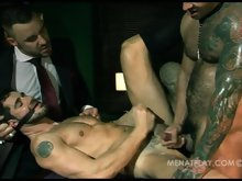 Hardcore gay clips of two brutal muscled tops fucking a hot dude really hard here