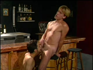 Blond Gay Sucks A Boner In A Bar And Gets His Ass Pounded From Behind