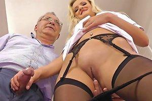 Young Blonde Enjoys Senior Cock