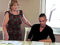 Younger Guy Bangs A Lustful Granny After Helping Her Out