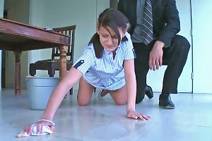 Pretty Pigtailed Chick Kylie Moore Is Cleaning The House And Taking Dick Between Her Legs