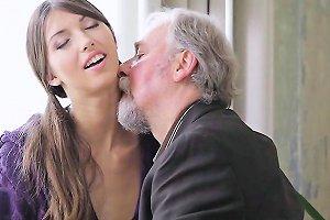Adorable Young Seductress Sucks And Rides Old Jock