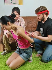 Skinny teen girl Fatima gets tied up and fucked from behind