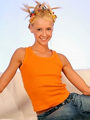 Adorable blonde strips and dildos