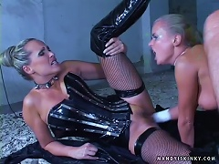 Latex Hotties Dora Venter And Mandy Bright Share A Hard Cock