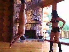 Mistress Whips Slave Hanging Upside Down
