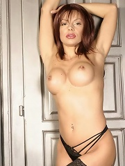 Raunchy mommy shows her sexiest black lingerie
