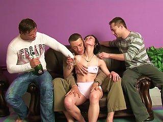 Three Dudes Make Sharon Drunk And Fuck Her So Hard