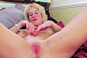 Busty Blonde German Mature Masturbating