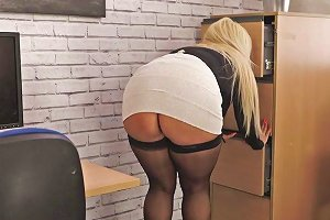 Delicious Big Bottomed Bitch Jem Stone Shows Upskirt In The Office