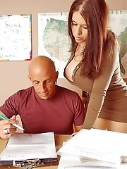 Big titted teacher Daphne Rosen gets her pussy drilled at school