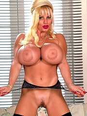 Babe with stunning big and bouncy busters in smutty hard-core act.