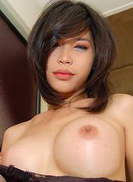 Asian ladyboy pumps cock and gets fucked