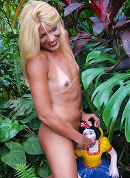 Naughty blond t-girl exposes...