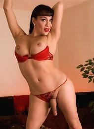 Beautiful TS Kourtney posing her big juicy tits and cock