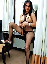 Sexy as fuck ladyboy wanking in stockings