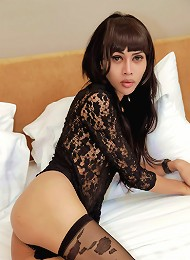 Well endowed ladyboy strokes to filthy photos