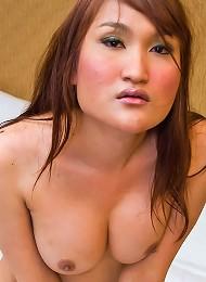 Ethnic shemale Rita cannot hide her bulging boner