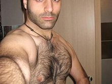 Hairy chested dude pulls out his cock and then masturbate